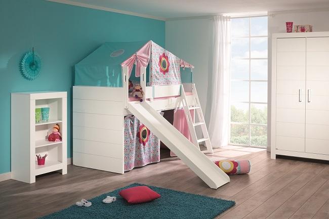 Letto gioco per bambini con scivolo spaziojunior store - Letto a soppalco con scivolo ...