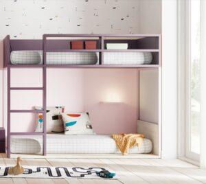 Letto a castello FLAT di Lagrama, nei colori CANYON, prugna e rosa